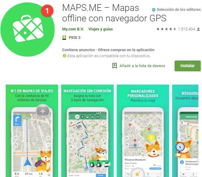 Aplicación para viajar Maps.me