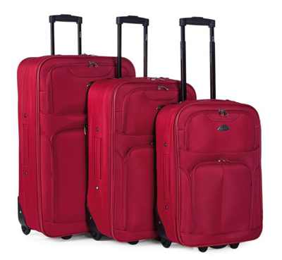Set maletas para viajar de carcasa blanda con dos ruedas
