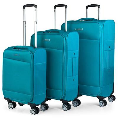 Set maletas para viajar de carcasa blanda con cuatro ruedas