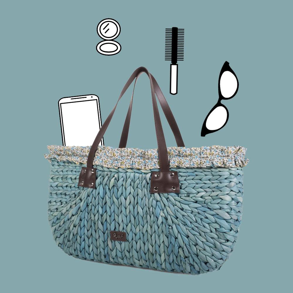 Bolso playa rafia en color azul