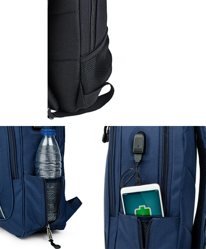 Bolsillos laterales mochila USB